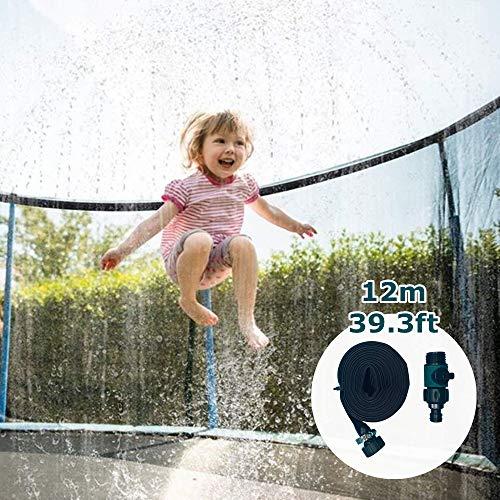 Trampolin Sprinkler Trampolin Spray Wasserpark Nebel Kühlsystem Sommer Trampolin Zubehör Trampolin Wassersprinkler Bewässerungs System Outdoor Garten Rasen (12 m)