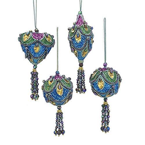 Kurt Adler Peacock Blue Green Purple 4 inch Acrylic Christmas Figurine Ornaments Set of 4