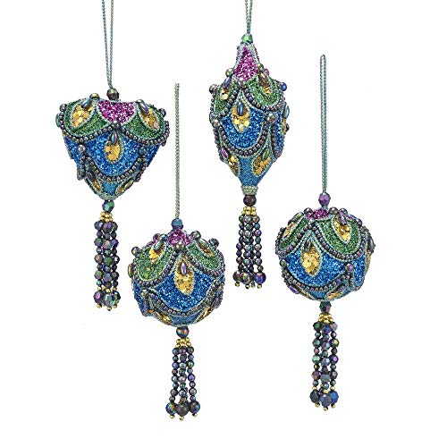 Kurt Adler Peacock Blue Green Purple 4 inch Acrylic Christmas Figurine Ornaments Set of 4