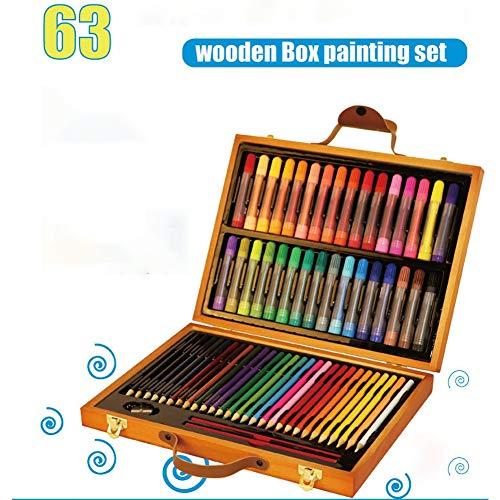LCY Kinder Kunst Holzkiste Kinderzeichnung Briefpapier Kinderkunst Holzbox Künstler Satz 63 PCS-Kunst-Malerei-Bürsten-Ausrüstung Eingestellt