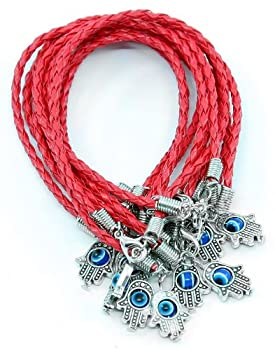 Lot - 10 HAMSA HAND Evil Eye  Red String Bracelets - Lucky Charm Pendant