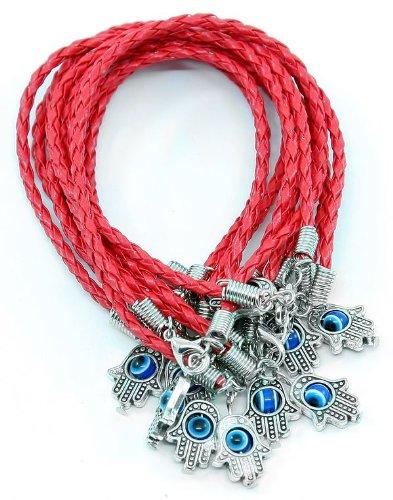 Lot 10 MAIN HAMSA contre MAUVAIS ŒIL Bracelet cordon ROUGE Pendentif CHANCEUX