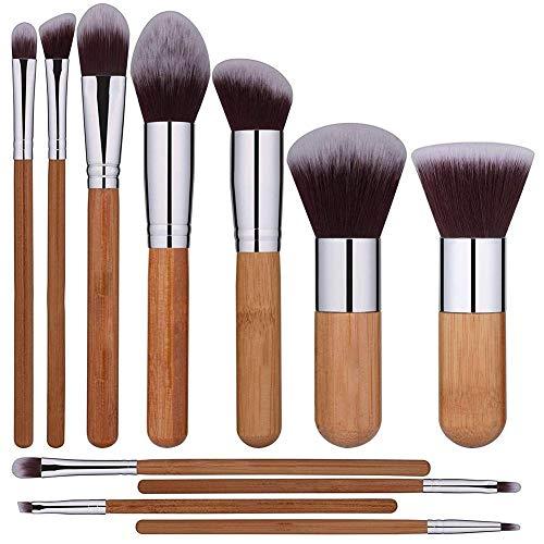 11 pinceaux de maquillage, manche en bambou, pinceau de maquillage, fond de teint, blush, brillant, pinceau de maquillage en poudre