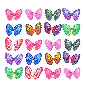 POPETPOP 20pcs Cute Dog Hair Bows with Rubber Bands – Elastic Butterfly Design Pet Dog Hair Bowknot Topknot Pets Grooming Decor Dog Hair Accessories