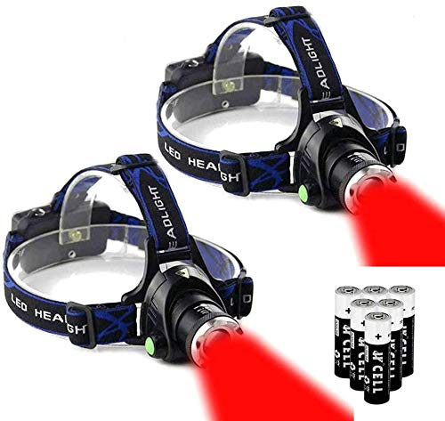 Ultra-bright 3 Mode 670nm Red Light headlamp with AAA Bateries Waterproof Headlamp (2 Pack)