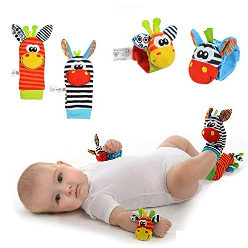 Hmjunboys Neonato Sonagli Baby Rattle 4 Pz sonagli per Bambini, Simpatici animaletti in Velluto da Polso sonagli e Set per Piedi, Giocattoli Morbidi di Sviluppo per Bambole