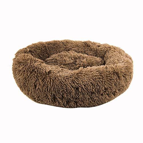 RYDRQF Ronde Hond Bed, Hond Bed Comfortabele Donut Knuffel Ultra Zachte Wasbare Hond en Kat Kussen Bed, Hondenbedden voor Medium Kleine Honden Ronde Kat Kussen Bed, Grijs, Bruin