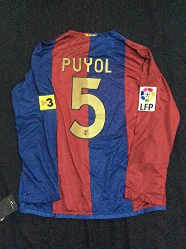SU Carlos PUYOL#5 Retro Long Sleeve Trikot 1999-2000 Full Patch RED&Blue Color (M)