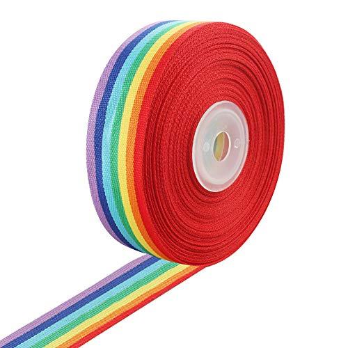 Regenbogen Band 15m x 25mm Nähen Band Dekoband Geschenkband Schleifenband für DIY Handwerk Nähen Geschenkverpackung