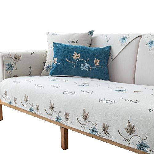 Four Seasons Funda para sofá Cojín Respaldo Reposabrazos Fundas para sofá de Chenilla Fundas para sofá de 1 2 3 4 plazas ,Beige,90x180cm
