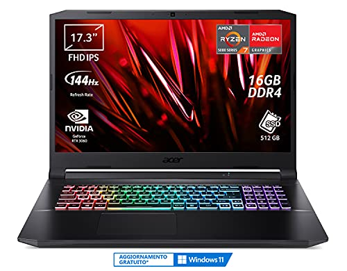 "Acer Nitro 5 AN517-41-R9G5 PC Gaming Portatile, Processore AMD Ryzen 7 5800H, Ram 16 GB DDR4, 512 GB PCIe NVMe SSD, Display 17.3"" FHD IPS 144 Hz LED LCD, NVIDIA GeForce RTX 3060 6 GB, Windows 10 Home"