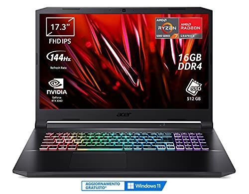 Acer Nitro 5 AN517-41-R9G5 PC Gaming Portatile, Processore AMD Ryzen 7 5800H, Ram 16 GB DDR4, 512 GB PCIe NVMe SSD, Display 17.3' FHD IPS 144 Hz LED LCD, NVIDIA GeForce RTX 3060 6 GB, Windows 10 Home