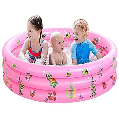 FANIER Piscina Hinchable para niño, Redonda Piscina Inflable Hinchable bañera Hinchable para jardín, 3 Cámara de Aire Individuales, 100 cm de diámetro, 38 cm de Altura,Rosa