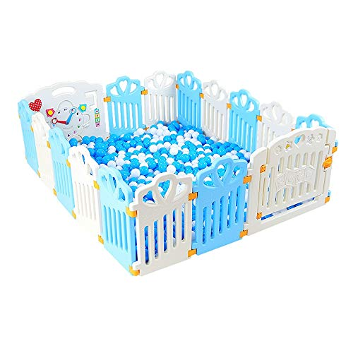 Sale!! Baby Plastic Playpen Foldable Portable Room Divider Child Kids Barrier with Colorful Panels (...