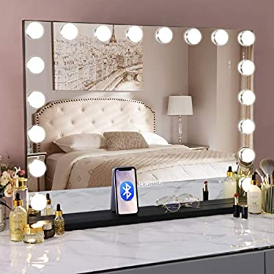"""COOLJEEN 39.3"""" Hollywood Makeup Mirror with 18 LED Bulbs Large Lighting Cosmetic Vanity 3 Color Lighting Modes Makeup Mirror with USB Charging Port & Bluetooth for Tabletop or Wallmount (Black)"""