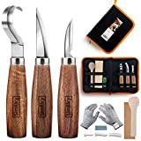Wood Carving Tools 5 in 1 Knife Set - Includes Hook Knife, Whittling Knife, Detail Knife, Carving Knife Sharpener for Spoon Bowl Cup Kuksa for Kids & Beginners (3-Set Round Handle)