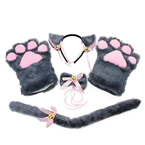 KEESIN Katze Cosplay Set Plüsch Klaue Handschuhe Katze Kätzchen Ohren Schwanz Kragen Pfoten Cute Adorable Party Kostüm Set für Kinder und Erwachsene (Grau)