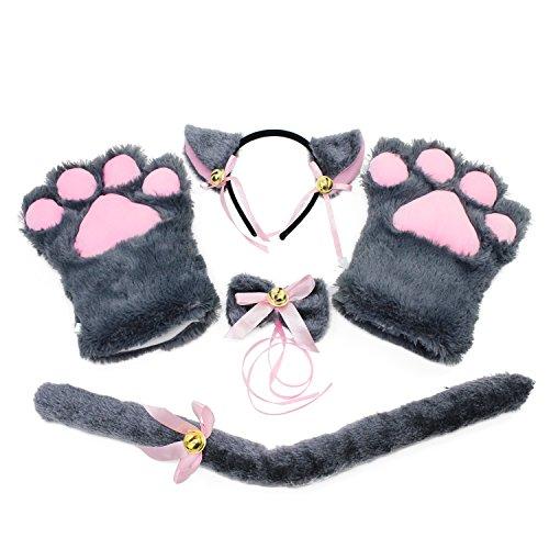 KEESIN Conjunto de Cosplay de Gato Guantes de Garra de Felpa Orejas de Gatito de Gato Collar de Cola Patas Disfraz de Fiesta Adorable Lindo para niños y Adultos (Gris)