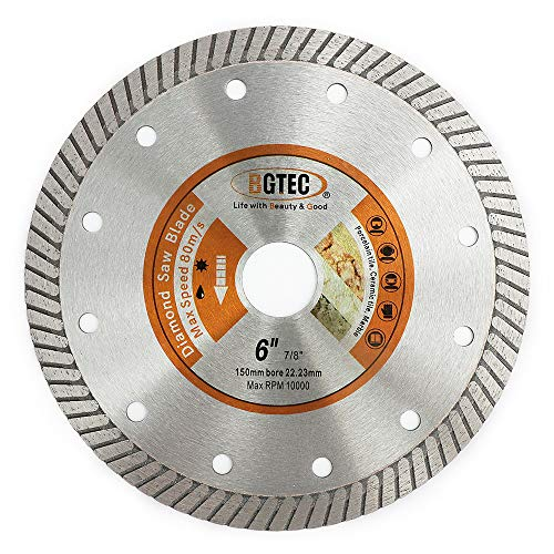 "BGTEC Diamond Tile Blade,1pc 6"" Super Thin Turbo Rim Concrete Porcelain Saw Blade with 7/8' Arbor for Cutting Porcelain Tile Ceramic Granite Marble Hard Material Cutting Disc"