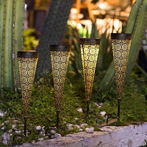 [Set of 4]TAKE ME Metal Solar Pathway Lights Garden Outdoor,Waterproof Metal Decorative Stakes for Walkway,Yard,Lawn,Patio