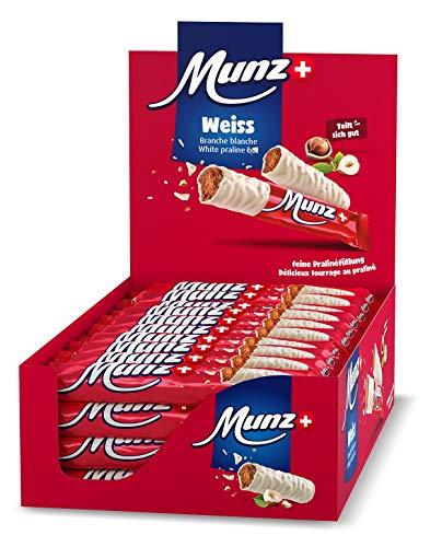 Schweizer Schokolade | MUNZ Prügeli Weiss | Branches | 40 Praliné Schokoladenriegel á 46g im Thekendisplay | 1,84kg Großpackung | Maestrani Schokolade | Glutenfrei