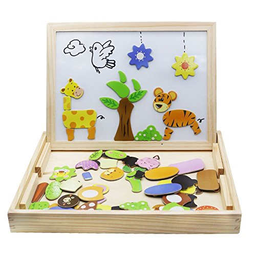 Wooden Toys Magnetic Puzzles Kids Wooden Games 109 Pieces Double Side Education Learning Toys for...