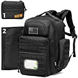 Diaper Bag Backpack for Dad, DBTAC Tactical Travel Baby Nappy Bag for Men w/Changing Pad, Insulated+Wipe Pockets, Stroller Straps, Black