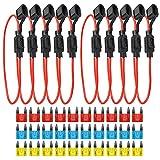 gtiwung 10pcs scatola portafusibili per fusibili lamellari auto, 16awg portafusibile in linea con cavo, 32v portafusibile a lama standard impermeabile (piccola dimensione)