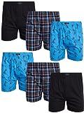 IZOD Men's Underwear - 100% Cotton Woven Boxers (6 Pack), Size Large, Print/Black/Plaid