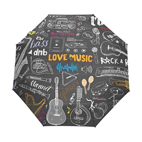 Regenschirm Love Music Pattern 3 Folds Auto Öffnen Schließen Anti-UV Windproof Lightweight
