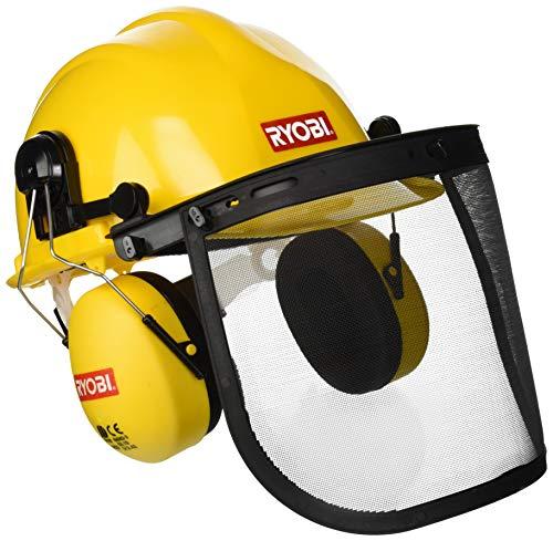 Ryobi helm met vizier en oorbescherming.