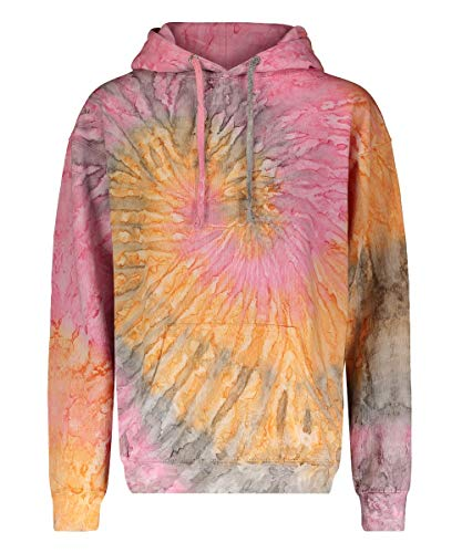 Wild Bobby Tie Dye Hoodie Assorted Collection Tie Dye Hooded Sweatshirt, Raindrop Orange, Large