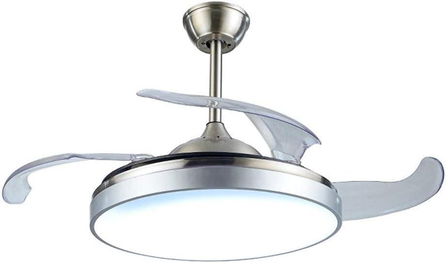 QCLU Ventilador de Techo con Ventilador de luz Modern 4 retráctil Cuchillas de 40 Pulgadas de la lámpara de Techo con Mando a Distancia for la Cubierta Habitación Sala