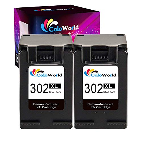 ColoWorld 302XL Cartuchos de tinta para impresora HP 302 compatible con Officejet 5230, 5220, 3831, 3833, 3830, 3832, 5252, 5255, Deskjet 1110, 2130, 3639, 3630, 3636, Envy 4525, 4520, 2 negro