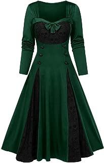 Fshinging Women Plus Size Halloween Skull Lace Insert Mock Button Bowknot Dress