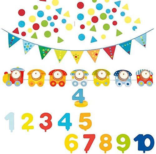 Goki-Set Geburtstagsparty Geburtstagszug aus Holz mit Teelicht-Haltern & Doppelseitige Wimpelkette 200 cm Textil zum Bekleben