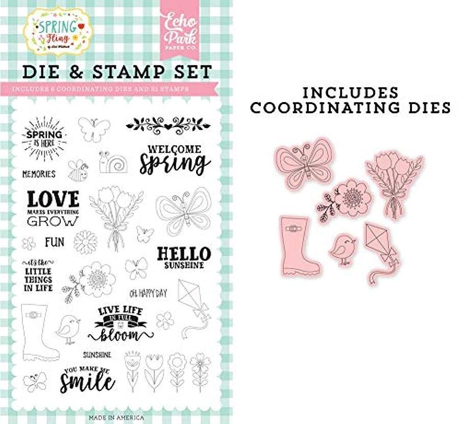 Echo Park Paper Company Spring is Here Die & Stamp Set die/Stamp Pink, Yellow, Teal, Green, Brown, Orange