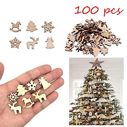 Gshy - Adornos de Madera de Navidad, Copo de Nieve, ángel, Estrella, árbol de Navidad, Discos Redondos de Madera, Adornos Colgantes para decoración