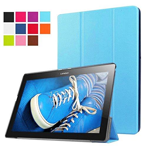 Lobwerk Schutzhülle für Lenovo Tab 3 10 Business A10-70F TB3-X70 (F/L) Plus 10.1 Zoll Smart Slim Hülle Book Cover Stand Flip (Hellblau) NEU