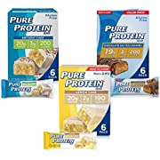 Pure Protein Bars, High Protein, Nutritious Snacks to Support Energy, Low Sugar, Gluten Free, Dessert Variety Pack, 1.76 oz, Pack of 18