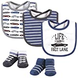Hudson Baby Unisex Baby Cotton Bib and Sock Set, Vintage Cars, One Size