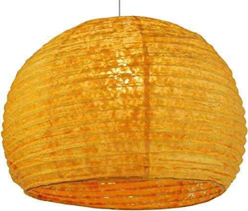 Guru-Shop Halbrunder Lokta Papierlampenschirm, Hängelampe Corona Ø 40 cm - Orange, Lokta-Papier, Asiatische Deckenlampen aus Papier & Stoff