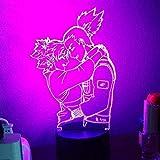 3D Illusion Light LED Luz Nocturna Anime Naruto Shikamaru y Temari Niños Niños Regalo de cumpleaños para el Dormitorio Decoración Anime Naruto Niños Firiendo