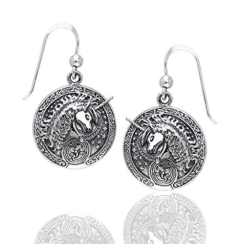 Courtney Davis Sterling Silver Celtic Unicorn Medallion Hook Earrings