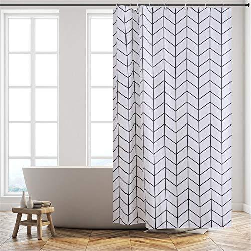 Furlinic Duschvorhang Textil Anti-schimmel Wasserdicht Waschbar Badvorhang aus Polyester Stoff 120x210cm Fischgrätenmuster mit 8 Duschvorhangringen.