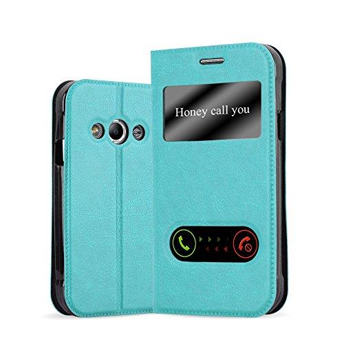 Cadorabo Hülle für Samsung Galaxy XCOVER 3 in Mint TÜRKIS – Handyhülle mit Magnetverschluss, Standfunktion & 2 Sichtfenstern – Hülle Cover Schutzhülle Etui Tasche Book Klapp Style