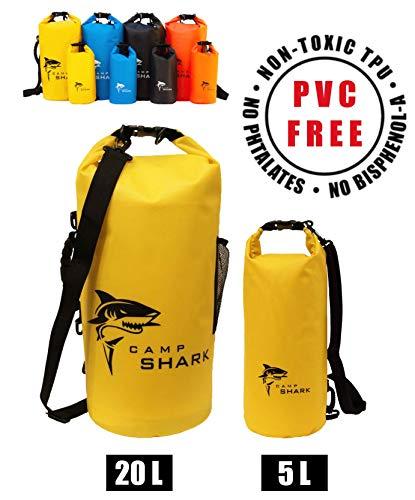 REVALCAMP Dry Bag 5L Gelb - Nicht Krebserregendes PVC* - wasserdichte Tasche aus TPU - Kein übler Geruch, Bessere Elastizität and Längere Lebensdauer - Für den modernen Abenteurer entworfen