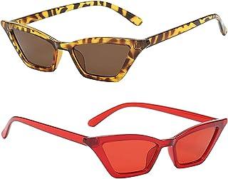 SM SunniMix - 2X Gafas de Sol Unisex Vintage con Forma de Ojo de Gato, Montura Cuadrada de Plástico, Gafas UV400