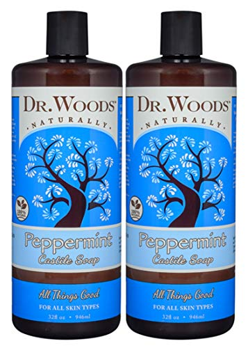 Dr. Woods Pure Peppermint Liquid Castile Soap, 32 Ounce (Pack of 2)