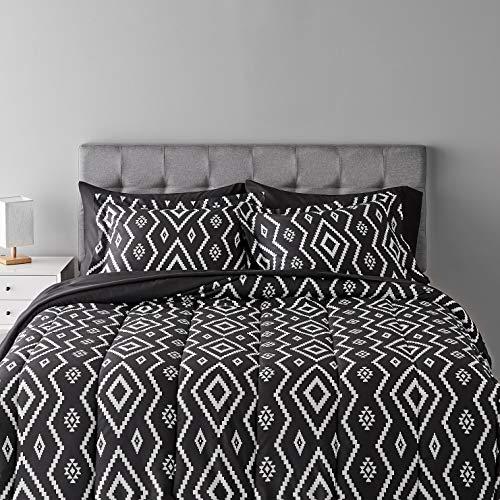 Amazon Basics 7-Piece Lightweight Microfiber Bed-In-A-Bag Comforter Bedding Set - Full/Queen, Black Aztec